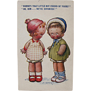 Post Card of Children Artist Signed D. Tempest