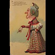 SALE Post Card of Odd Looking Woman Germany Embossed 1910
