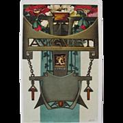 Artist Signed Post Card Art Nouveau Virgo Zodiac Signs