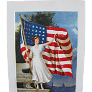 Patriotic Post Card with American Flag and Statement of Her Principles