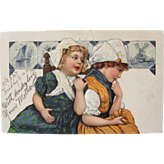 Dutch Girls on Postcard Printed in Germany