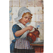 Artist Signed Post Card Germany 1908 Dutch Girl by E. Louyox