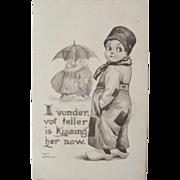 Artist Signed Post Card by B. Wall Dutch Boy