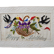 French Post Card Hand Embroidered on Silk Birthday Greeting