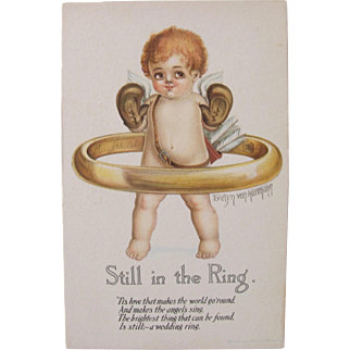 Artist Signed Post Card by Evelyn Von Hartmann Cherub in Ring Boxing Unused