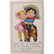 Humorous Postcard Artist Signed by Wall Cowboy Cowgirl Children