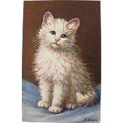 Artist Signed Post Card of White Cat A. Lanyre