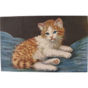 Artist Signed Post Card of Kitten by A Lanyre