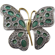 Butterfly Vintage Pin Brooch Signed Nolan Miller Rhinestones and Green Glass