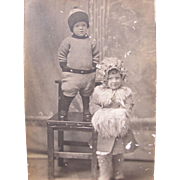 Postcard of Children in Sepia Tone 1910