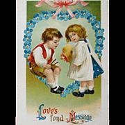 Valentine's Day Post Card Unused Embossed Germany