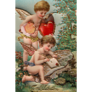 Valentine's Day Post Card Cherubs In Chromo Germany with Raised Heart