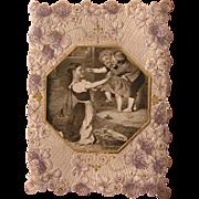 Valentine's Card Die Cut Trim Open Romantic Poem 1900