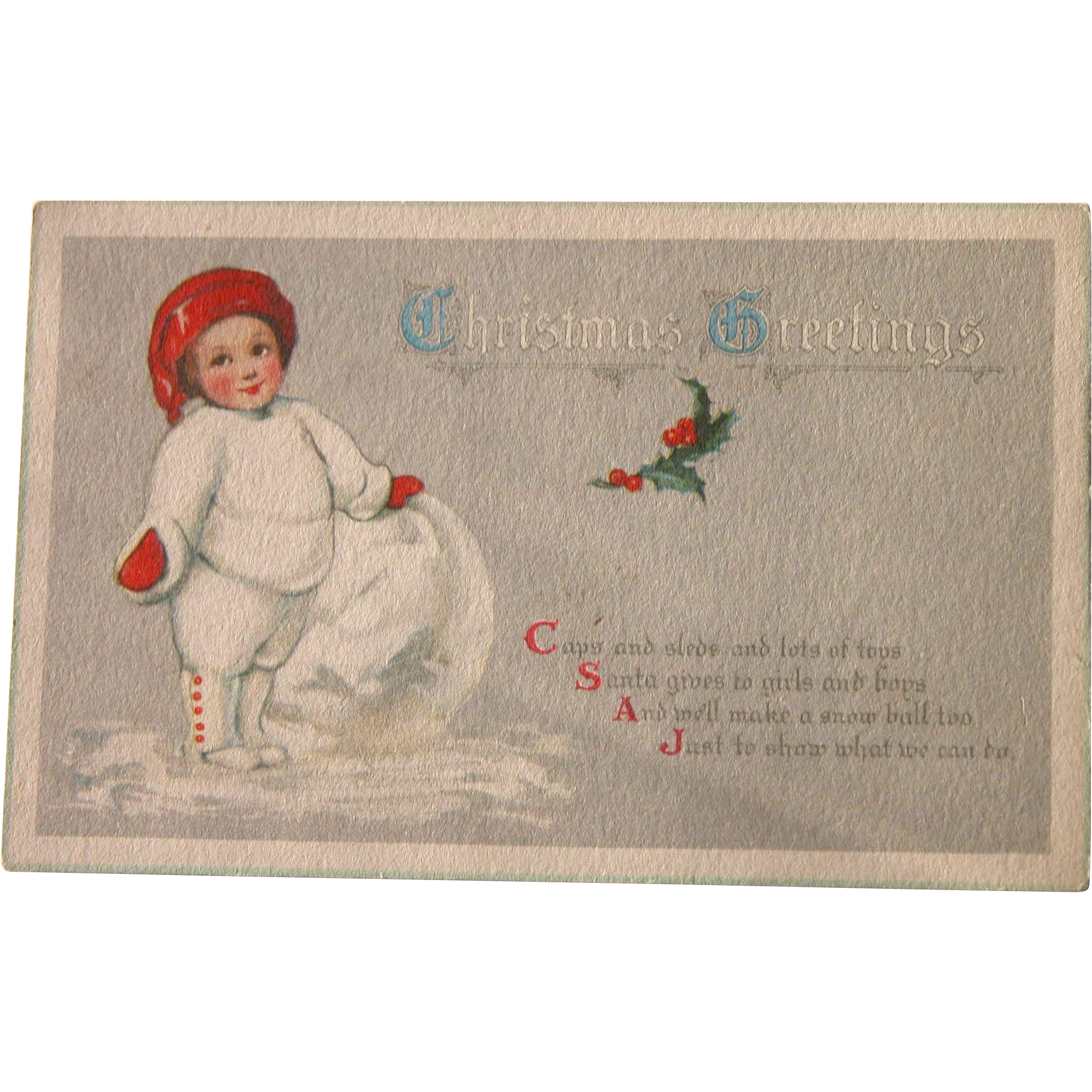 Christmas Postcard with Poem and Snowman Child