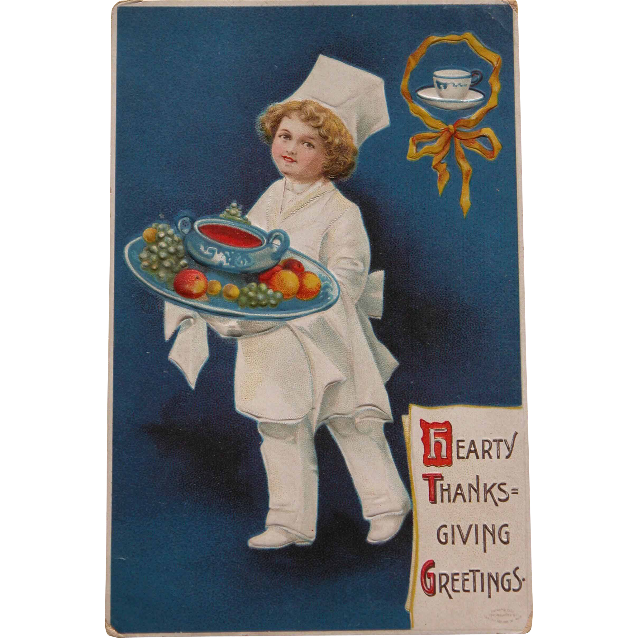 Thanksgiving Postcard with Little Chef and Food Tray
