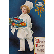 Thanksgiving Postcard with Little Chef and Food Tray by Ellen Clapsaddle