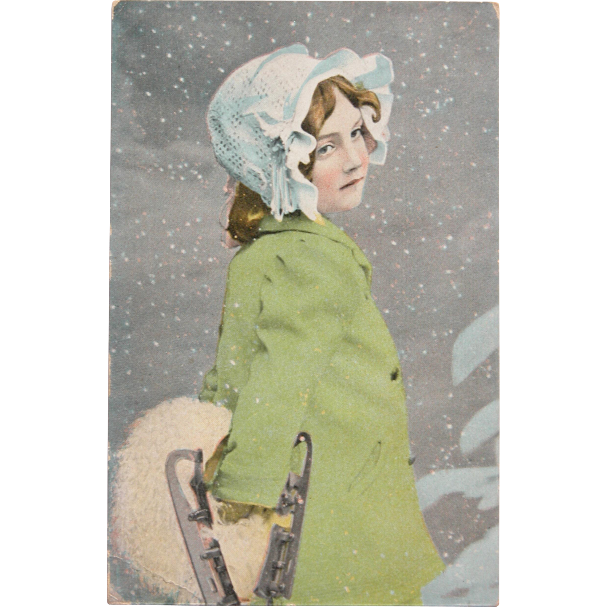 Christmas Antique Postcard Child with Ice Skates
