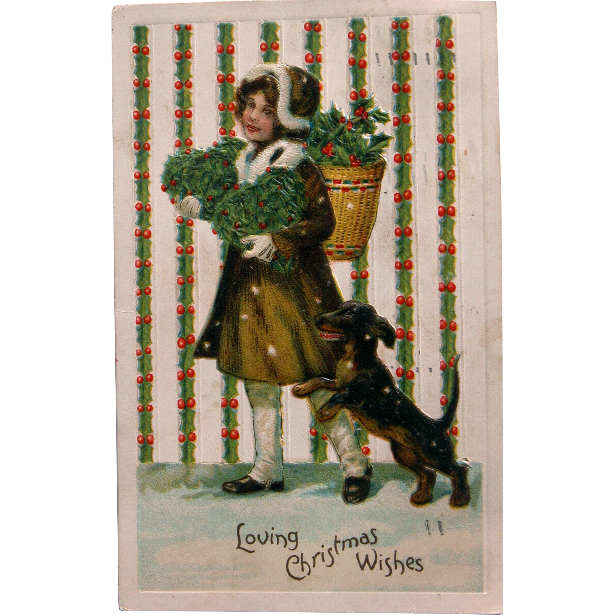Christmas Postcard with Girl and Dog and Mistletoe
