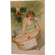 Unused Christmas Postcard with Angel and Hatbox