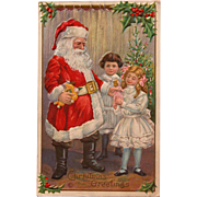Santa Postcard 1915 Embossed with Mother's Handwriting