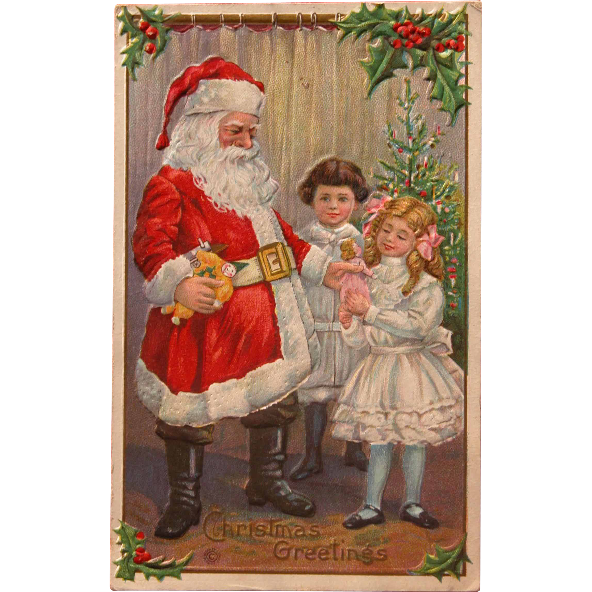 Santa Postcard 1915 Embossed with Mother's Handwriting