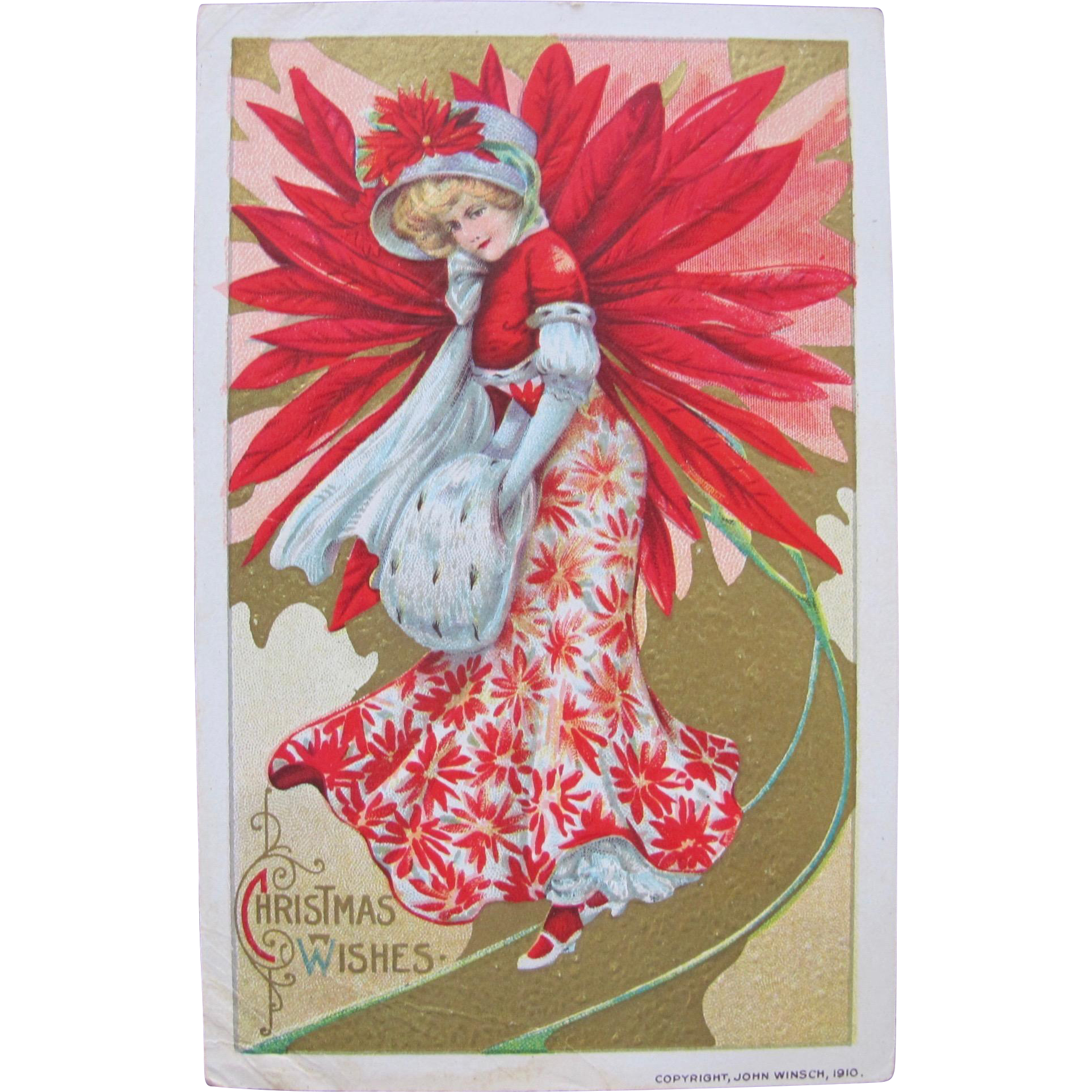 Christmas Postcard by John Winch 1910 Poinsettia Girl with Hat
