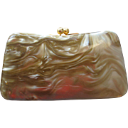 Vintage Lucite Purse with Compact Pristine Unused Condition 1950's Lipstick Cigarette Compartment