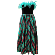 Vintage Cocktail Dress Neiman Marcus Plaid Taffeta Red Green Black with Feathers