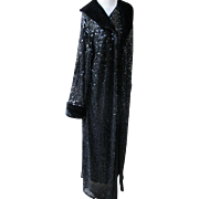 Couture Evening Coat with Black Sequins Faux Fur Long 1980's Glamour