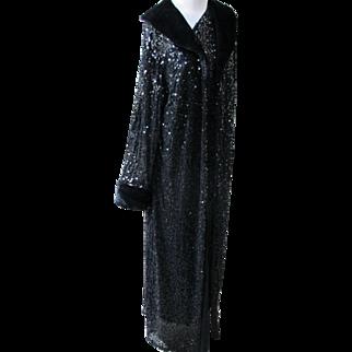 Co Evening Coat with Black Sequins Faux Fur Long 1980