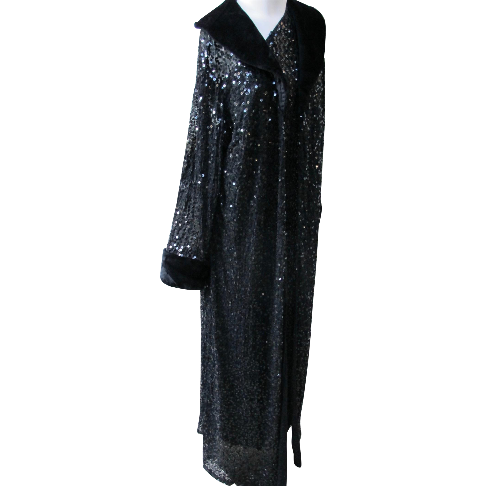 Evening Coat with Black Sequins Faux Fur Long 1980