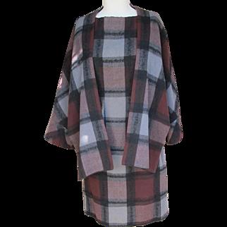 Jean Paul Gaultier Designer Wool Dress and Jacket Vintage Plaid with Provenance