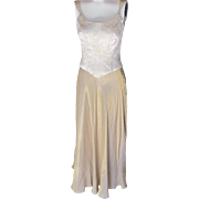 Vintage Evening Dress Gold Skirt and Top with Rhinestones Size 6 X Playboy Bunny