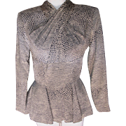 Couture Designer Blouse Vicky Tiel Sold by Bergdorf Goodman N.Y. Animal Print Unworn