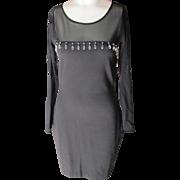 Vintage Black Cocktail Dress with Beads Cotton Blend 1980's Size Med Andrea Jovine
