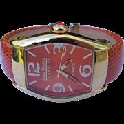 Bracelet Watch by Joan Rivers Quartz Orange Authentic Leather Band