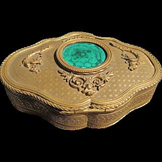 Antique French Bronze Box with Malachite Top Velvet Interior 1900
