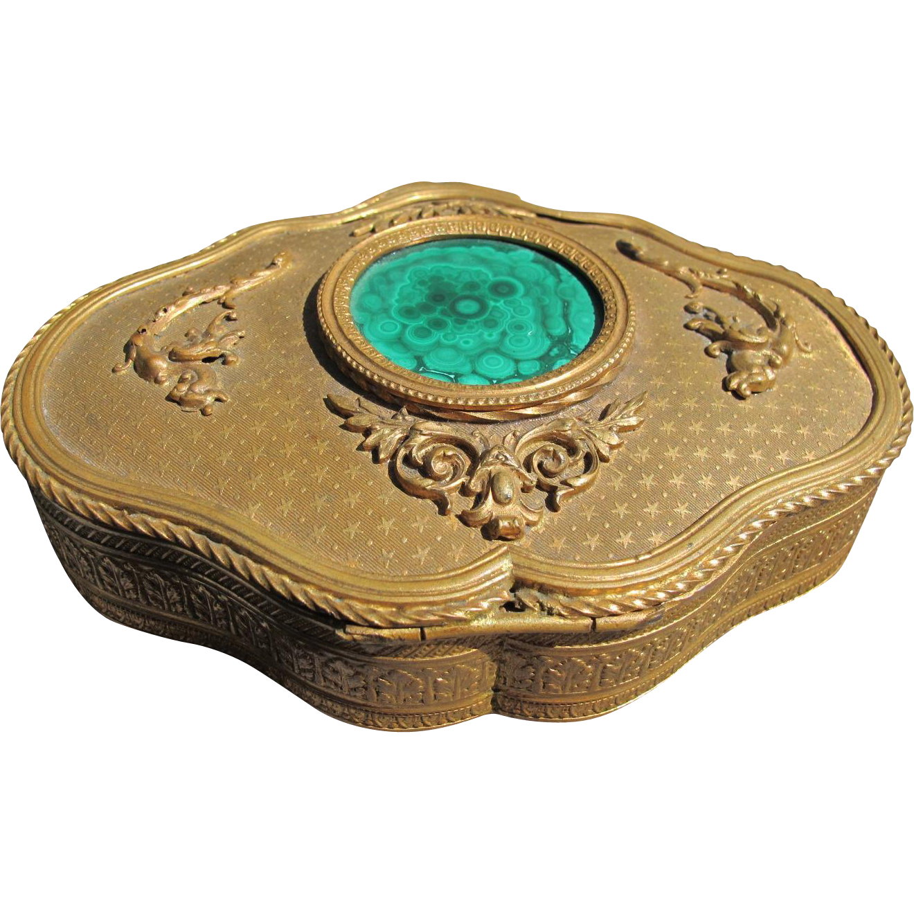 Antique French Bronze Box with Malachite Top Velvet Interior 1900