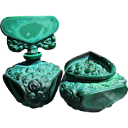 Czechoslovakian Perfume Bottle and Powder Bowl Set Roses of Malachite Glass 1920-1930