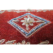 Victorian Era Box in Velvet Hand Embroidered Beaded Decor Steel Beads Perfume Box / Powder
