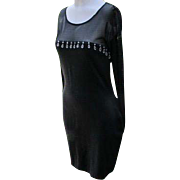 Sexy Black Dress Beads Shear Short Black Dress for Party or Holidays Size 6