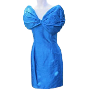 Retro Dress Blue Silk Puffy Sleeves Provenance X Playboy Bunny 1980's Designer Label