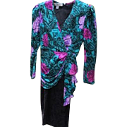 Retro Silk Dress Flowers Vogue Now Size 4-6 A J Bari 1980's Provenance