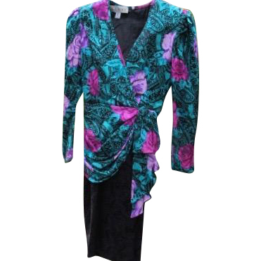 Retro Silk Dress Flowers Vogue Now Size 4-6 A J Bari 1980's Provenance