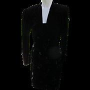 Black Evening Dress and Jacket  in Velvet 1980s Size 7/8