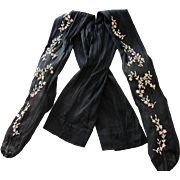 Victorian Silk Stocking Embroidered with Pink Flowers 1880-1900