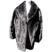 Faux Fur Coat Retro Sable Fur Look Dark Like New Condition Size 16