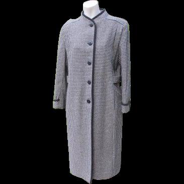Retro Coat Wool Houndstooth Pattern Black Braided Trim USA Made
