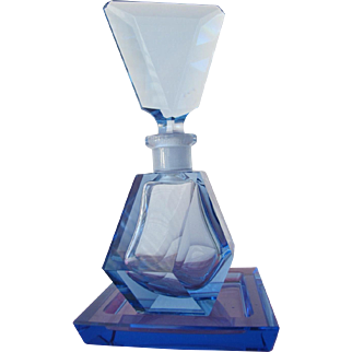Vintage Blue Crystal Perfume Bottle with Glass Tray