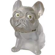 Vintage Glass Czech Bulldog with Studded Collar Enamel Eyes